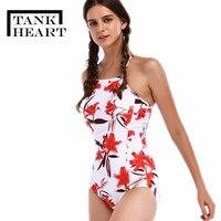 Tank Heart 2018 Print Sexy Bikinis Push Up One Pieces Swimwear Brazilian Bikini Women Monokini Swimsuit
