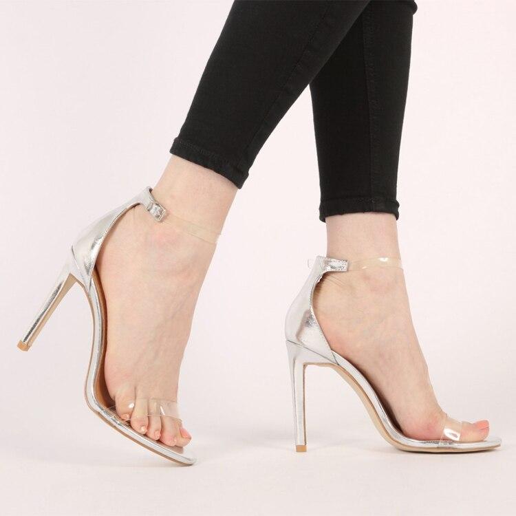 ФОТО Summer New Arrival Patent Leather Women Sandals Brief Styles Open toe Ankle Buckle High Heel Stilettos Thin Heel Sandalias