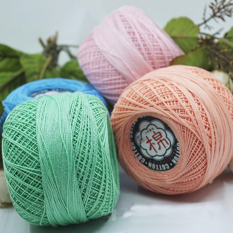 Retail 50g/ball 8# 2ply DIY Colorful Thin Lace Yarn Crochet Yarn 100% Cotton Yarn Hand Knitting Thread Sewing Machine Line JK468
