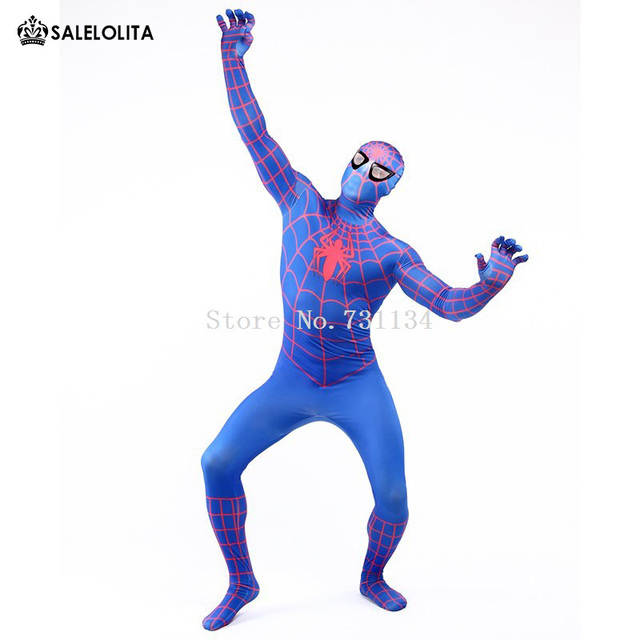 Amazing Spandex Blue Spiderman Costume Clothes Suit Boy Kids Children Adult  Spiderman Costume Zentai Halloween Cosplay Costume