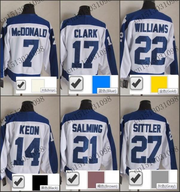 d6e4d18f028 ... 17 wendel clark jersey white home premier stitched mens wendel clark  vintage throwback ice hockey