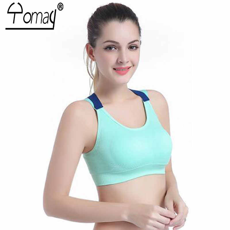 d367bcfc4f ... Yomay Sexy Backless Women Sports Bra Yoga Running Push Up Padded  Fitness Top Adjustable Straps Athletic ...