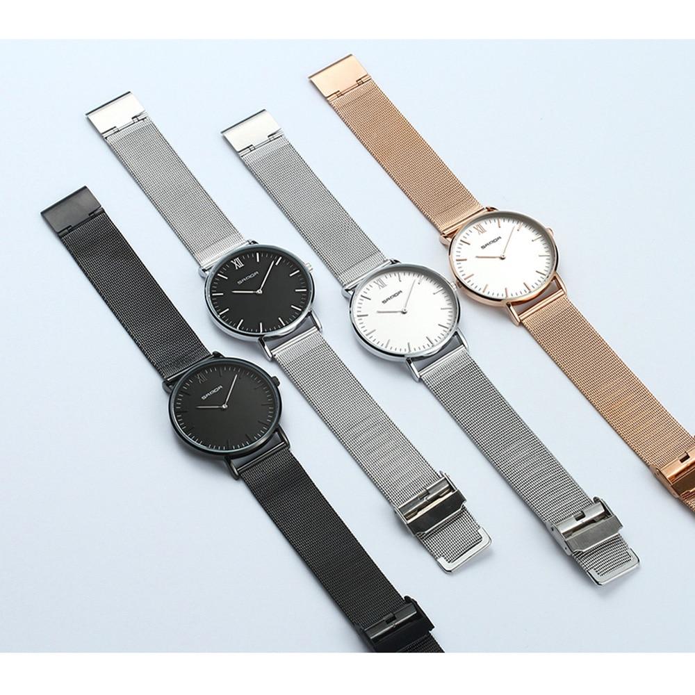 Sanda New 2019 Business Lovers Watch Bracelet Clasp Large Dial Men Watch Ladies Wristwatch Couple Watches часы мужские наручные