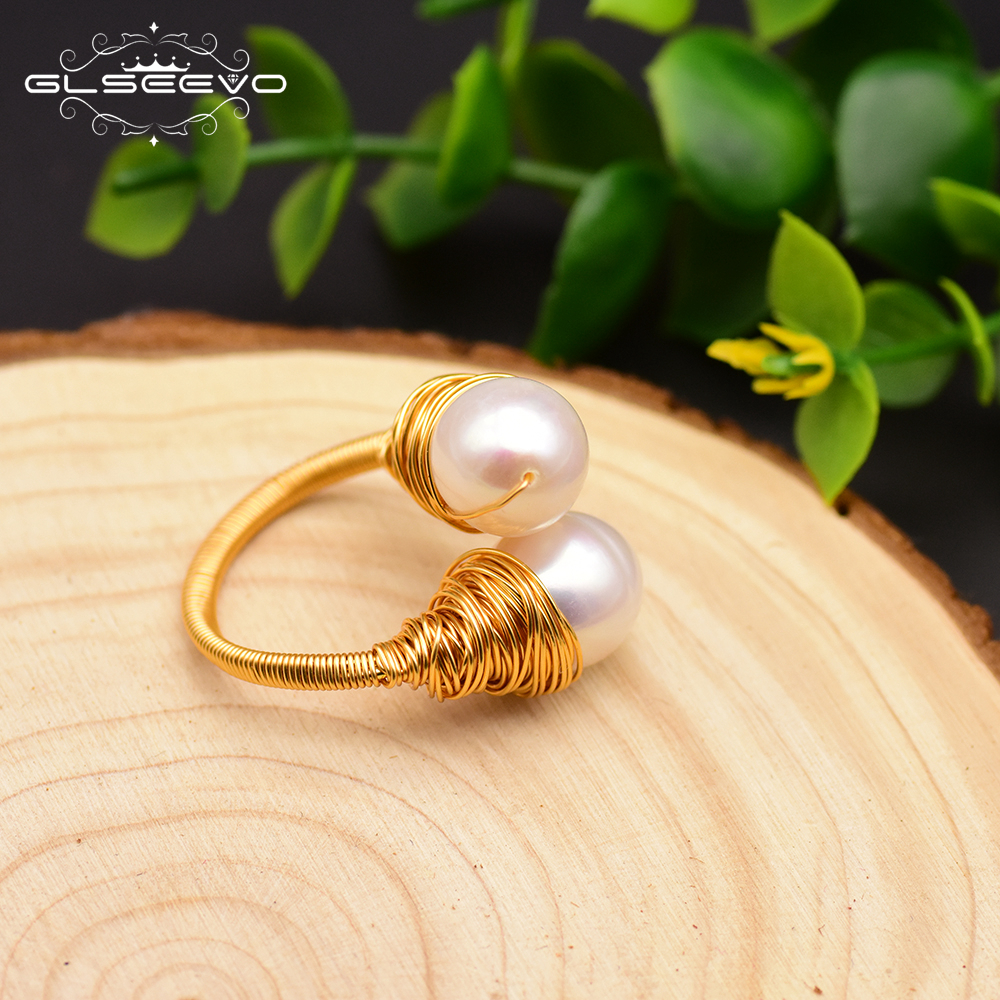 GLSEEVO Handmade Natural Baroque Fresh Water Pearl Adjustable Ring For Women Custom Wedding Engagement Party Fine Jewelry GR0226