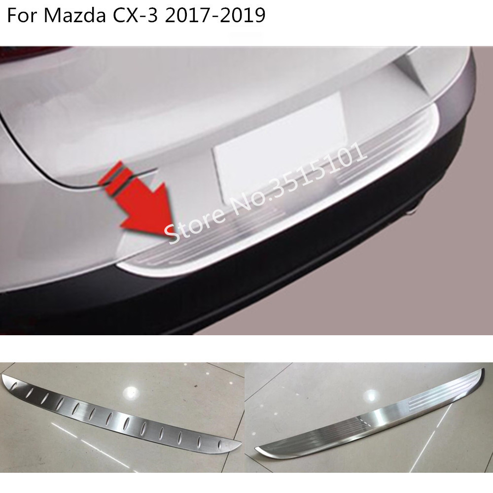 car external rear outside bumper Protect trunk trim cover Stainless Steel plate pedal 1pcs For Mazda CX-3 CX3 2017 2018 2019 стоимость