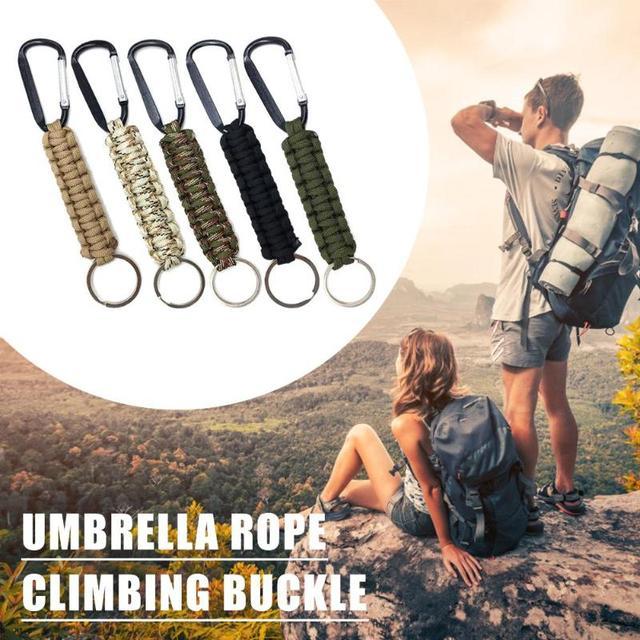 Safety Survival Gear Tactical Military Strand Cord Parachute Rope Keyring Carabiner Kits Lanyard Keychain Outdoor Tools Random 4