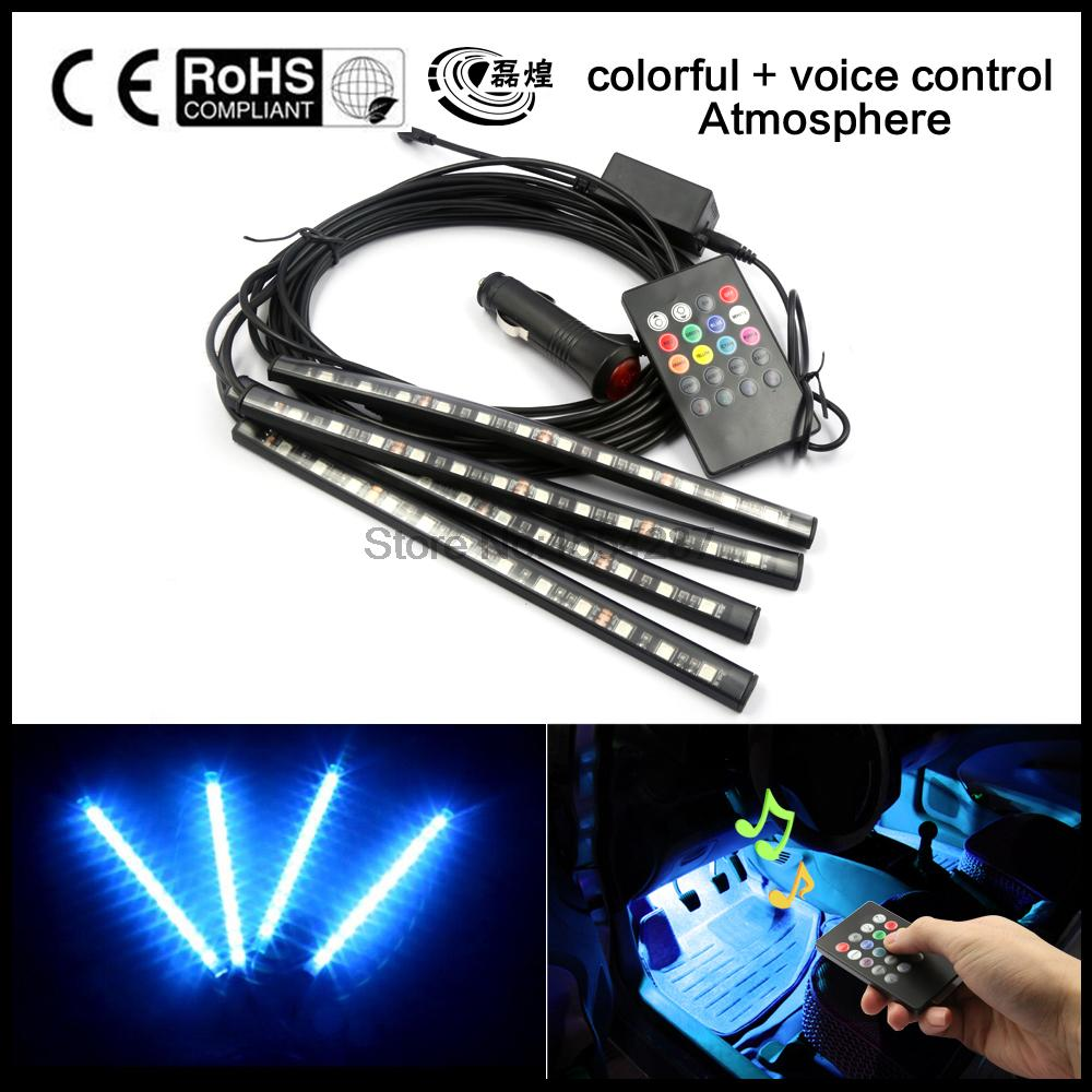 2016 Multi Color voice sound music control Flexible Interior Decorative Atmosphere Neon Lamp LED Wireless Remote Car Lighter