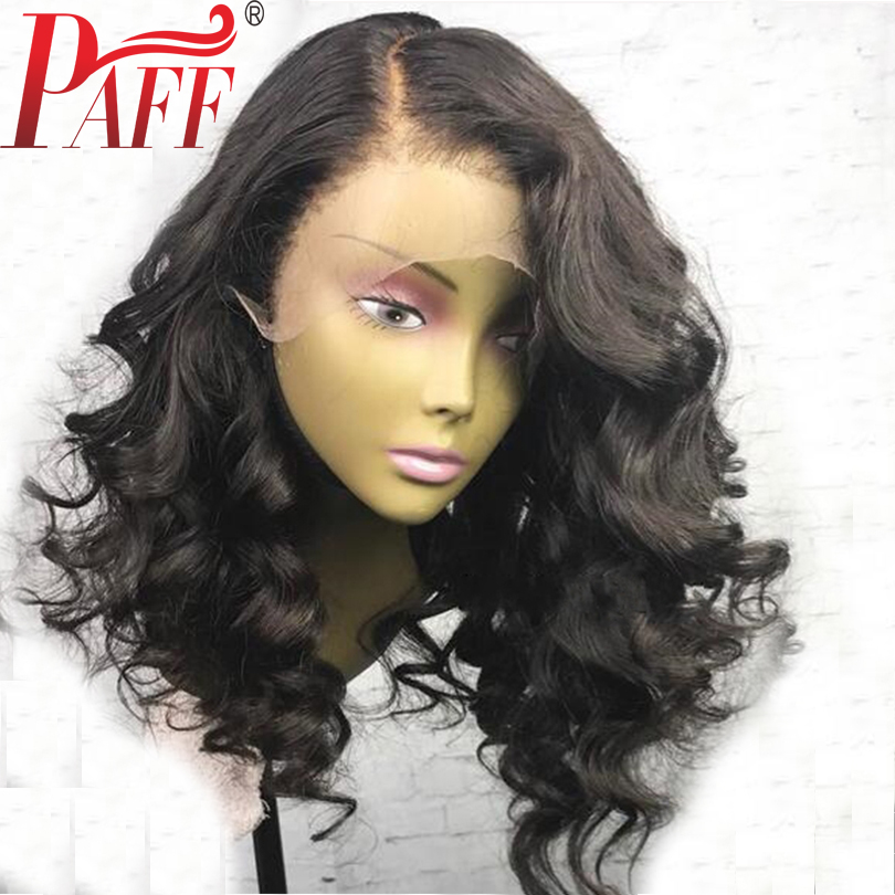 PAFF Short body wave lace front human hair wig glueless 180% density Peruvian remy hair wig with baby hair bleached knots