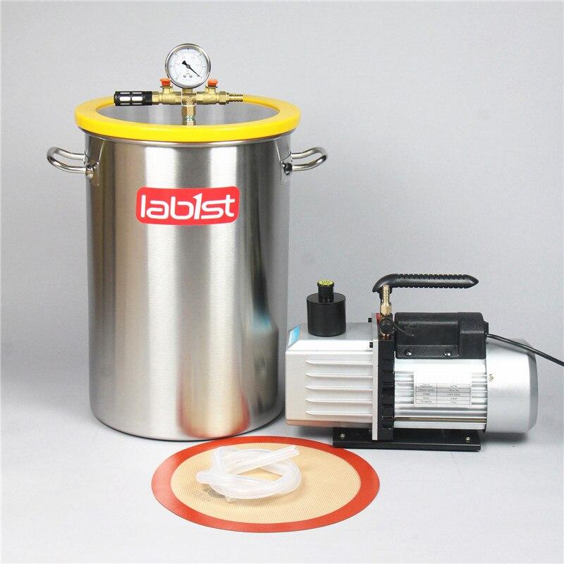 Cámara de 8,4 galones (31,8 litros) + 2 etapas 6CFM (2,7 L/s) Kit de bomba de vacío 220 V, cámara de desgasificación de vacío de acero inoxidable de 30cm x 45cm