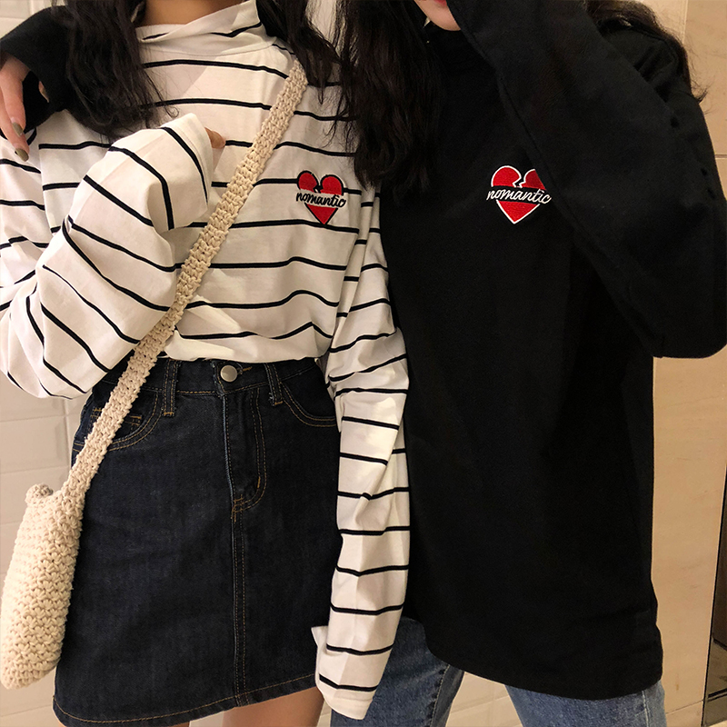 Women's T-shirts Tops Japanese Ladies Ulzzang Love Embroidered Half Turtleneck T-shirt Female Korean Harajuku Clothes For Women