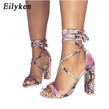Eilyken 2018 New Summer Fashion Snake skin Ankle Strap Women Sandals  Cross-tied Super High Heels Lady Pumps Sandals Shoes 54e944757ec3