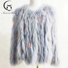 real fox fur coat Knitted coat women natural fox  fur jacket real fur coat  Raccoon fur woven fringed stitching jacket