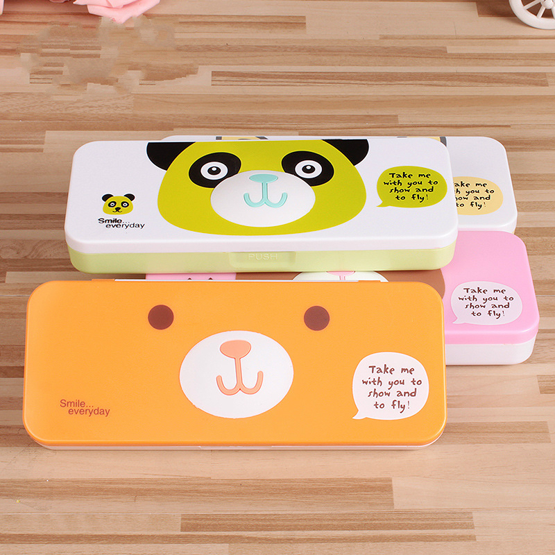 Double Layer Plastic Pencil case Animal Cartoon Creative Pencil Box Children Simple Pencil Bag School Office Stationery Supplies minimalism iron tinplate creative stationery box tin pencil box with window cartoon pencil case school student gifts