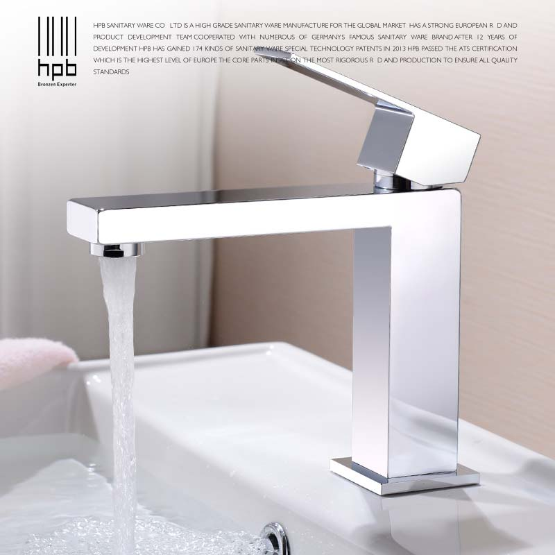 HPB Brass Basin Faucet Hot and Cold Water Single hole Single handle Sink Bathroom Mixer Tap grifos para lavabos HP3037 hpb pull out bathroom faucet brass sink basin mixer tap cold hot water chrome single hole handle fashion design quality hp3030
