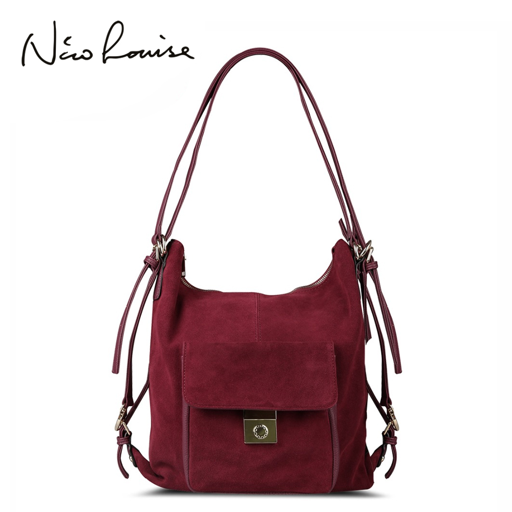 Nico Louise Women Real Split Suede Leather Shoulder Bag Fashion Female Leisure Nubuck Casual Handbag Large