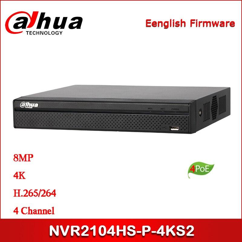 Güvenlik ve Koruma'ten Gözetleme Video Kaydedici'de Dahua POE NVR NVR2104HS P 4KS2 4 kanal kompakt 1U 4PoE Lite 4K H.265 ağ Video kaydedici title=