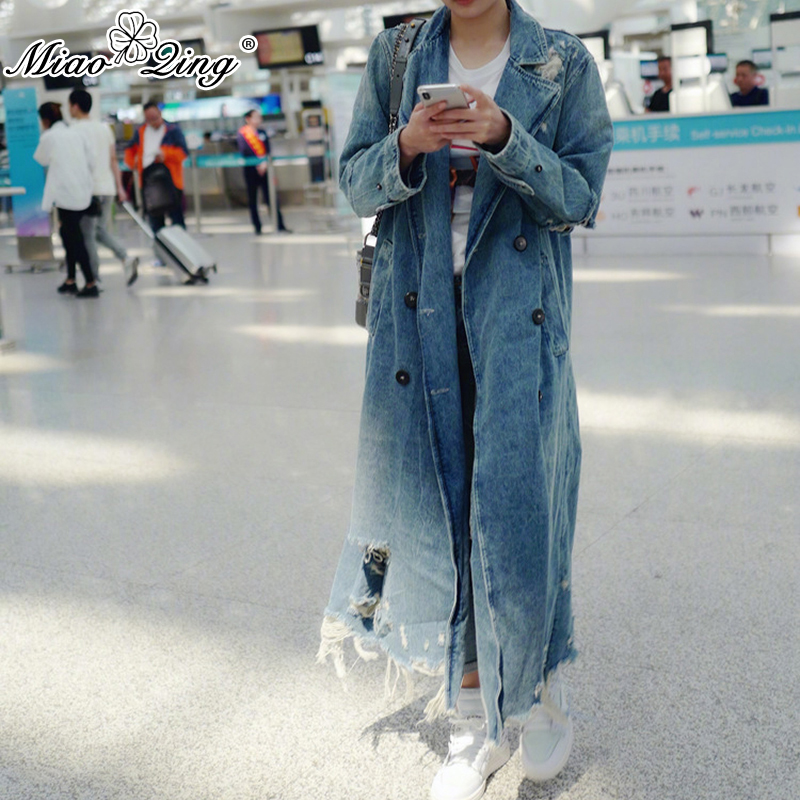 MIAOQING 2018 Autumn   Trench   coat for women Fashion Shredded hole Tassel leisure Korean style long coat windbreaker harajuku Tops