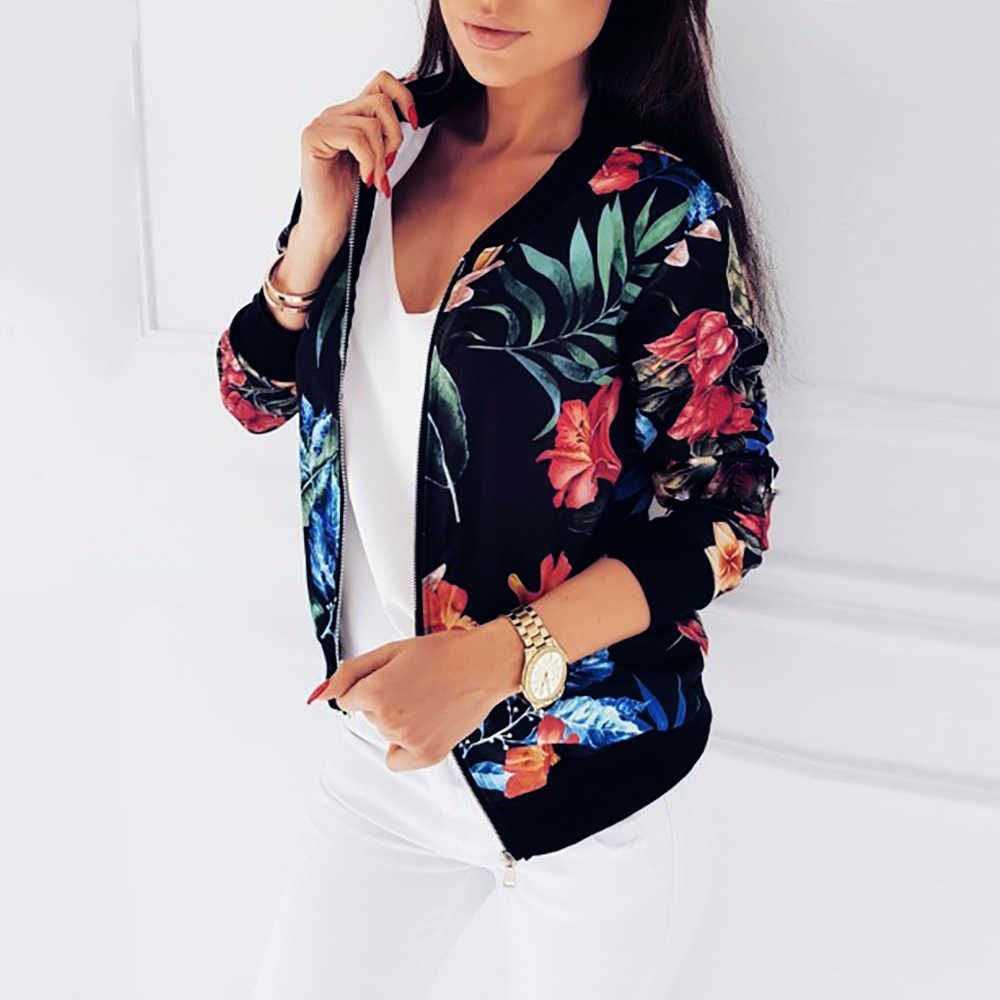 f9239124fed ... S-5xl Women Casual Zipper Jacket Floral Printed Round Neck Long Sleeve Bomber  Jackets Female ...