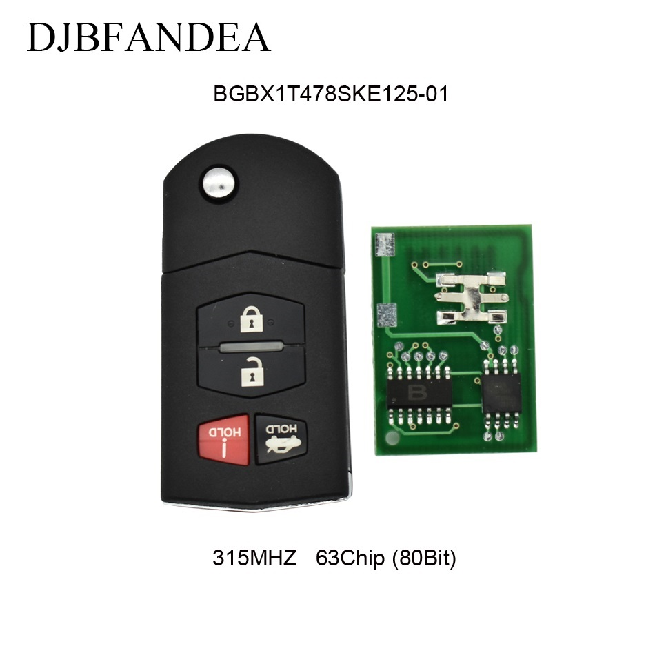 DJBFANDEA 4BT 315Mhz Remote Key Fob For Mazda MX-5 Miata 3 6 BGBX1T478SKE125-01 Original keys ID63 Chip