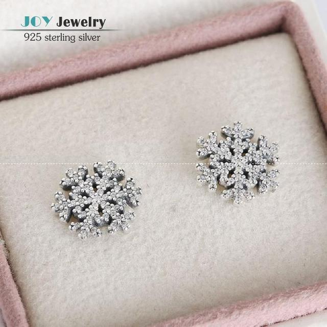Christmas CZ Pave Snowflake Stud Earring 925-Sterling-Silver Flower Earrings For Women Suitable For European Style Jewelry Diy