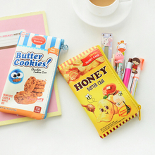 A02 Creative Cute Food Butter Cookies Chips PU Pen Bag Pencil Case Cosmetic Makeup Bag Stationery Student Gift Rewarding