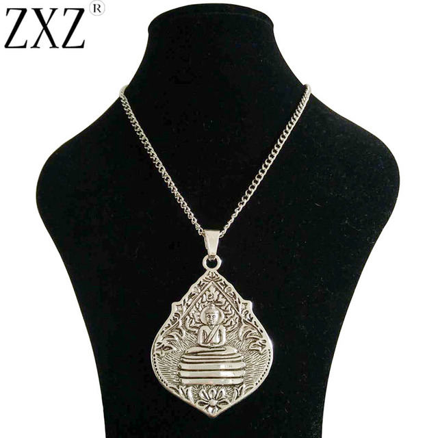 Zxz large silver statement abstract metal thai meditation buddha zxz large silver statement abstract metal thai meditation buddha buddhist amulet pendant on long chain necklace aloadofball Choice Image