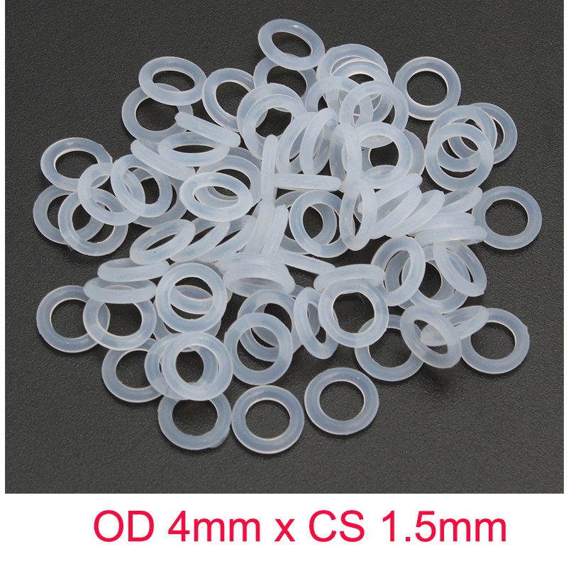 OD 4mm x CS 1.5mm VMQ SILICONE Translucent O ring O-ring Oring Sealing Rubber