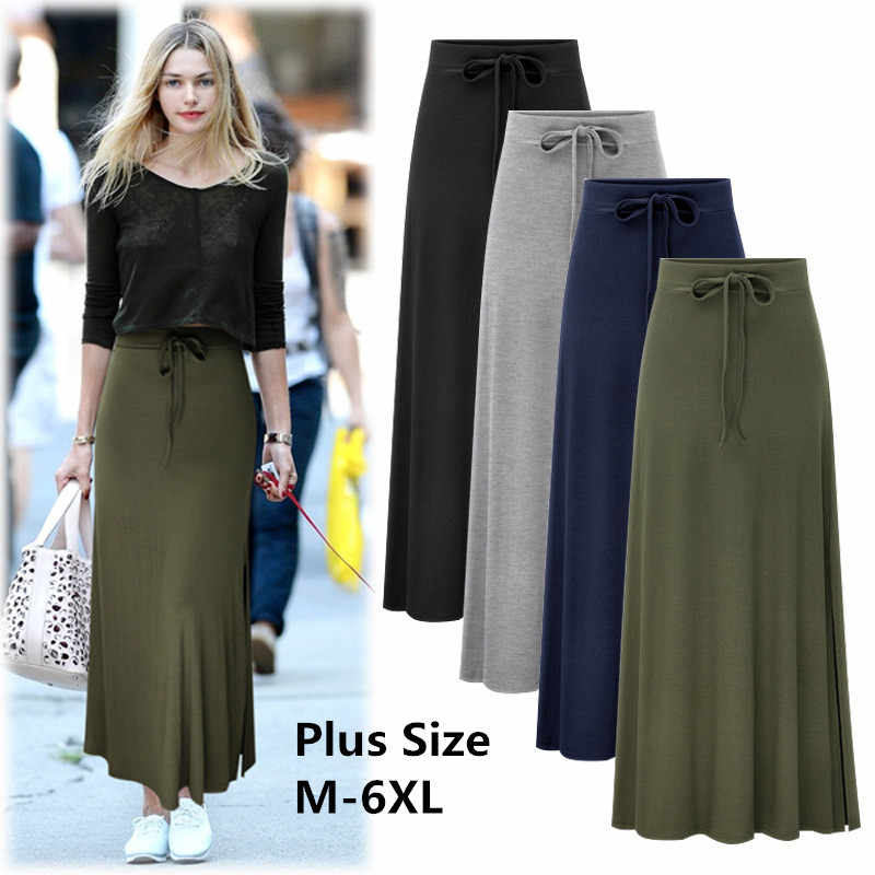 22720c7ef6 Detail Feedback Questions about 2019 Plus Size Cotton Women Skirts Plus  Size M 6XL Long Maxi Skirt For Women High Waist A Line Causal Large Size  Female ...