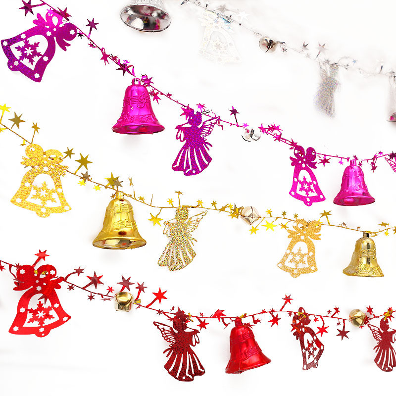 1PC 2 Meters Plastic Bells Ribbon Christmas Tree Ornament Wedding