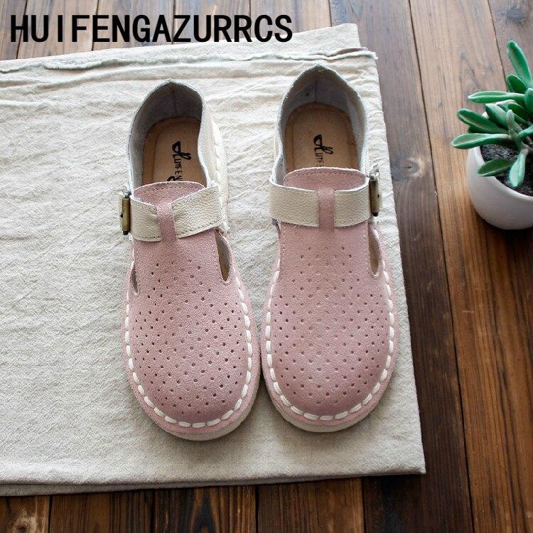 HUIFENGAZURRCS-livraison gratuite, 2019 nouveau printemps chaussures pour femmes rétro japonaises, chaussures plates confort en cuir véritable fait à la main