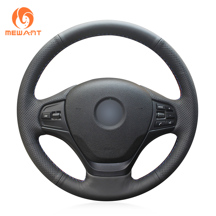 MEWANT Black Genuine Leather Comfortable Soft Durable Hand Sew Wrap Car Steering Wheel Cover for BMW