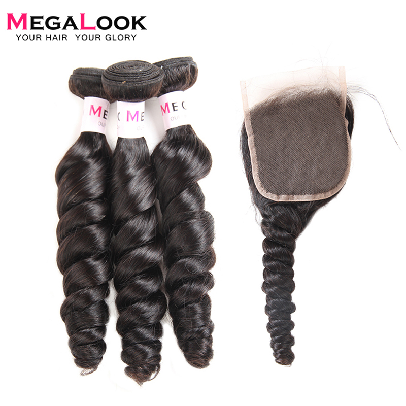 Megalook Indian Loose Wave Bundles with Closure 3pcs 100% Remy Human Hair Bundles with Lace Closure-in 3/4 Bundles with Closure from Hair Extensions & Wigs    1