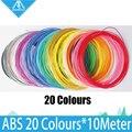 20 rolos/lote 10 M amostras 3D Printer filament ABS 1.75mm 20 cores Precisão +/-0.05mm MakerBot/RepRap/UP/Mendel/3D Caneta