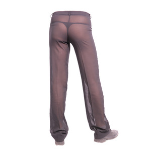 Image 1 - ผู้ชายเซ็กซี่ชีฟอง Sheer ดูผ่านหลวม Fit กางเกงขาตรงชุดนอน Breathable Sleep Bottoms Man ความยาวเต็มกางเกง