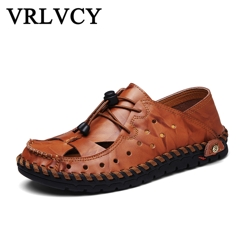 New 2018 brand leather summer men sandals casual breathable handmade mens fashion sandals