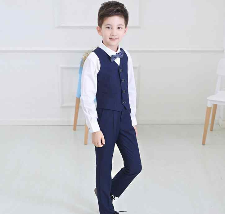 f94ee93caab ... Boys wedding suit Kids Tuxedos Black/Blue boy Outfits 4 pieces Autumn Clothing  sets Boys