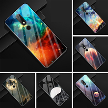 hot deal buy glass cover for nokia x6 2018 case moon hard back cover for nokia x6 2018 x 6 case soft tpu frame print case for nokia 6.1 plus