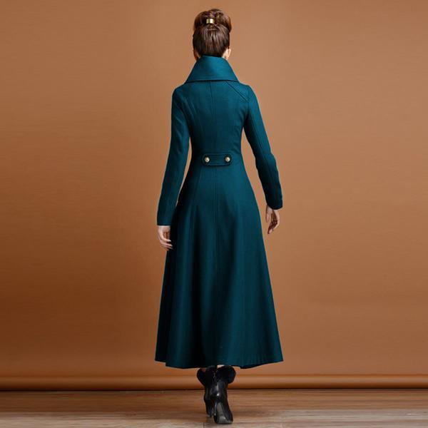 Dark La Pied Col Pardessus Laine Plus Ladie Chevalier 2xl Breasted Femmes Manteau Double D'hiver De Blue Taille nqIw7ZfB