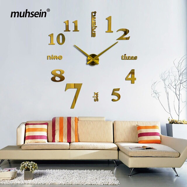 2017 muhsein New Super Big DIY Wall Clock Acrylic Metal Mirror Wall Clock Super Digital Watches Clocks Decorate Free shipping