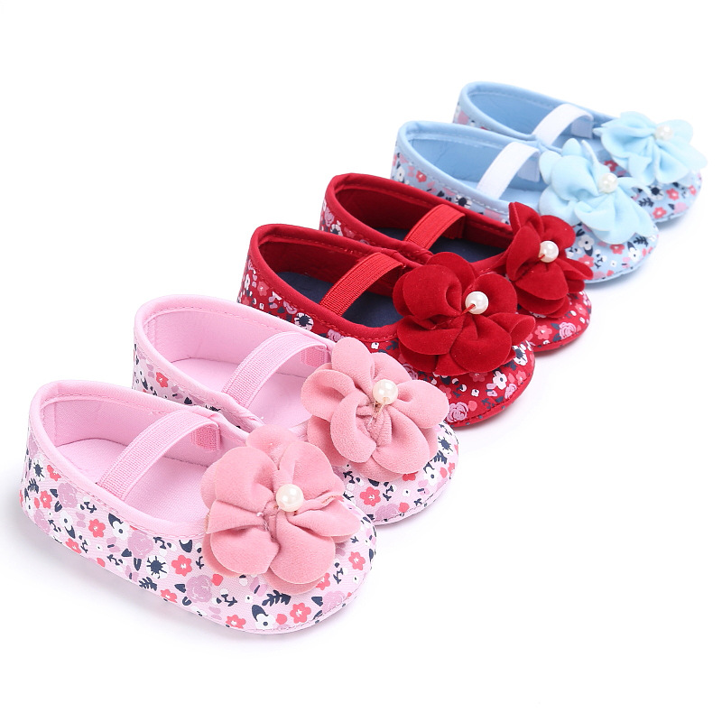 Sweet Baby Girls Princess font b Shoes b font Lovely Big Flower Soft Soled Newborn font