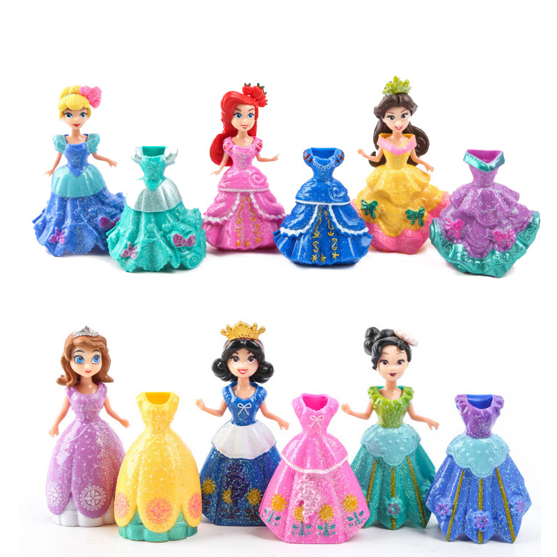 Frozen 12Pcs/Lot Princess SOfia Elsa Belle Mermaid Figures Doll Toys Model Action Figure Set With Magic Clip Dress For Children patrulla canina with shield brinquedos 6pcs set 6cm patrulha canina patrol puppy dog pvc action figures juguetes kids hot toys