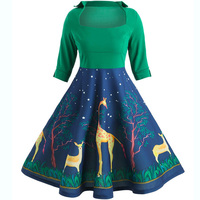 Robe Noel Green Retro Party Big Swing Dresses Spring Summer Square Neck Half Sleeve Dress Christmas Deer Print Dress Big Size