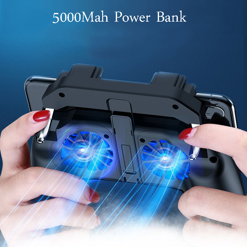 Cell Phone Game Gamepad Dzhostik Free Fire Pubg Trigger Game Pad For PUBG Mobile Controller Cooler Fan With 5000mAh Power Bank