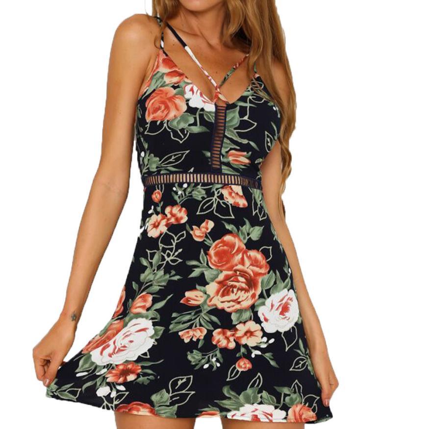 snowshine YLI Fashion Summer Womens Mini Dress Floral Print Skater Dresses Hollow Dress free shipping