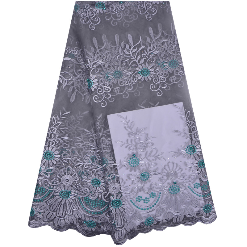 French Lace Fabric With Beads Silver Grey African Lace Fabric High Quality 2018 Net Lace Nigerian
