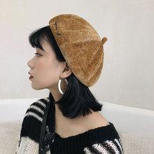 2018 Winter Beret Hats Women Kids Painter Cap Baked Wheat Cake Soft Corduroy Wool Hat Girl Children Solid Fashion