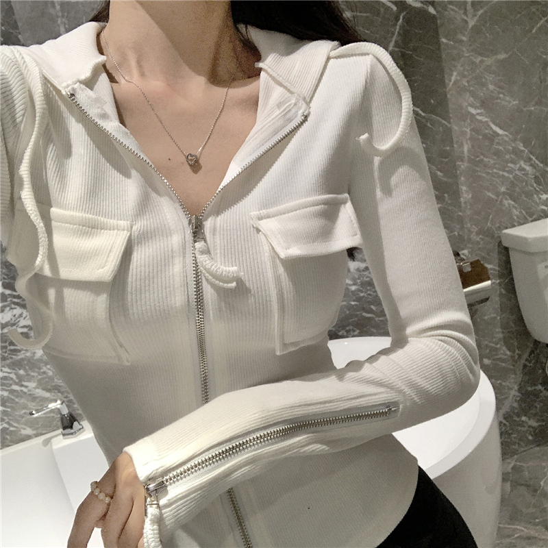 2019 Spring and summer Women's Clothing Jackets new coats and jackets women full vintage solid pockets Simple slim zipper 17