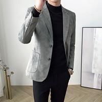 AreMoMuWha, повседневный замшевый Блейзер, мужской корейский стиль, Саморазвитие, тренд, маленький костюм, Молодежная мужская рубашка, мужские к