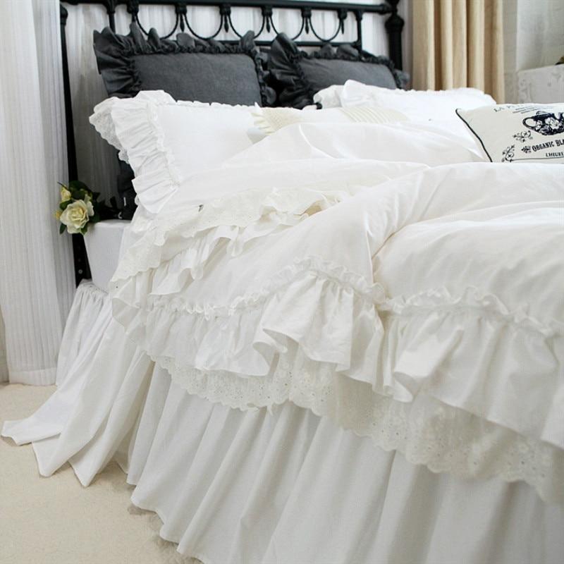 Luxury Embroidery bedding set Romantic lace ruffle duvet cover wedding decorative textile bed sheet Coverlet elegant