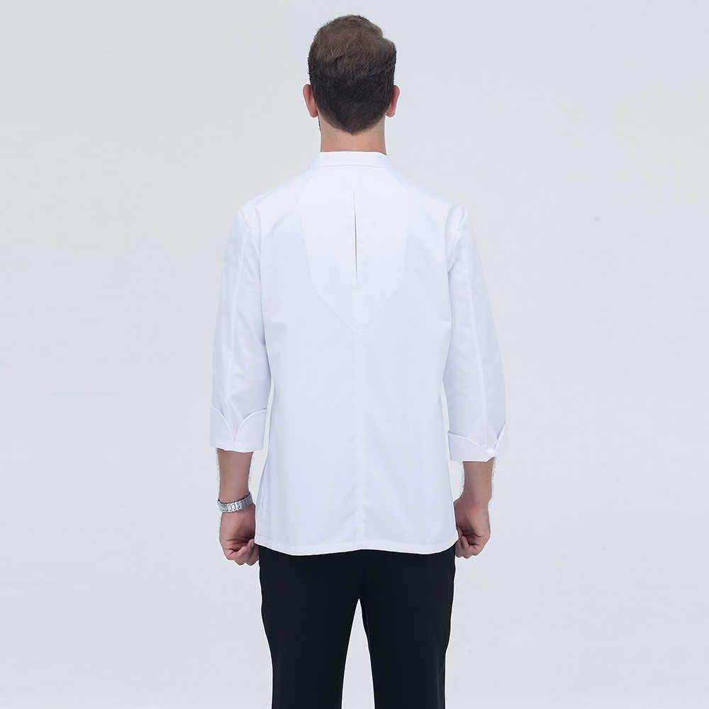 2018 черный белый желтый Новое поступление высокое качество Дракон Embroidary шеф-повара Униформа кухонная выпечка китайская куртка шеф-повара ресторана